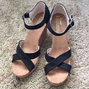 Toms sienna wedges faux cork cross cross strap